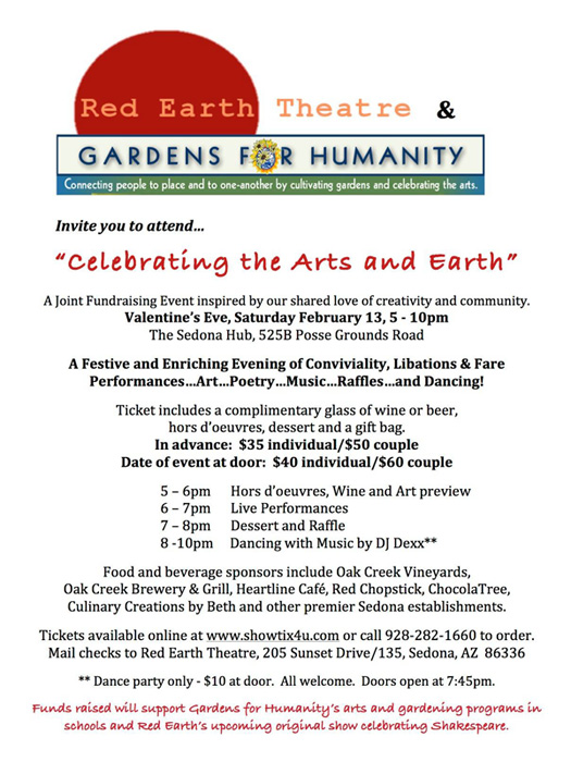 Gardens for Humanity / Red Earth Theatre Fundraiser - Feb. 9 - 29, 2016